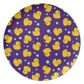 Rubber Duckies and bubbles purple kids plate