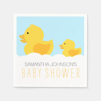 Rubber Duckies Yellow Neutral Baby Shower Paper Napkins
