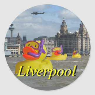 Rubber Ducks On The Mersey Classic Round Sticker