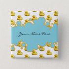 Rubber Ducky and Blue Bubbles Banner Baby Shower 15 Cm Square Badge