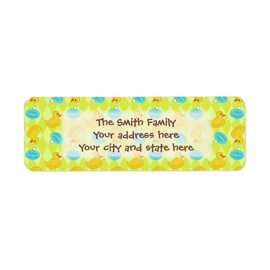 Rubber ducky and soap pattern. return address label