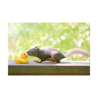 Rubber Ducky and Squirrel Kissing Canvas Prints