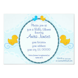 rubber ducky baby shower card 13 cm x 18 cm invitation card