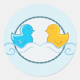 rubber ducky baby shower seal round sticker