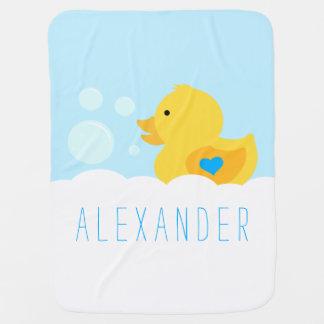 Rubber Ducky Bath Bubbles Baby Blanket
