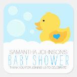 Rubber Ducky Boy Baby Shower Square Sticker