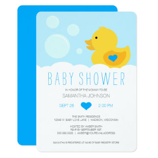 Rubber Ducky Bubble Bath Boy Baby Shower Card