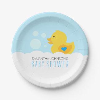 Rubber Ducky Bubble Bath Boy Baby Shower Paper Plate