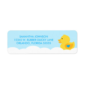 Rubber Ducky Bubble Bath Boy Baby Shower Return Address Label