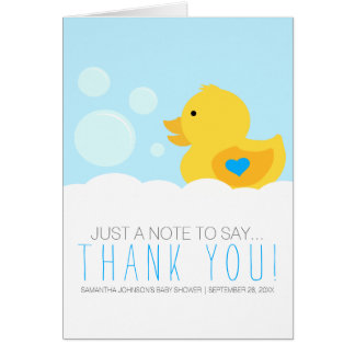 Rubber Ducky Bubble Bath Boy Baby Shower Thank You Note Card