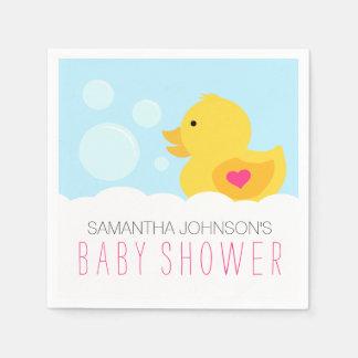 Rubber Ducky Bubble Bath Girl Baby Shower Disposable Napkins