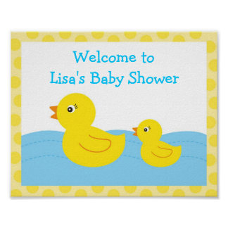 Rubber Ducky Duck Birthday Party Sign Poster