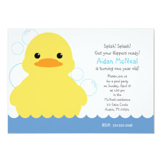 rubber ducky first BIRTHDAY PARTY invitation