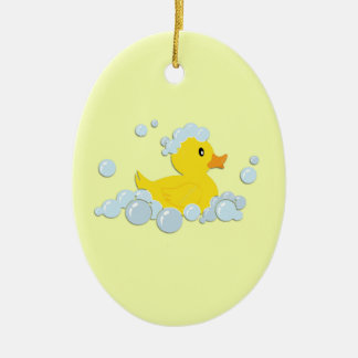 Rubber Ducky in Bubbles Ceramic Oval Decoration