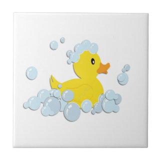 Rubber Ducky in Bubbles Small Square Tile