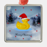 Rubber Ducky in his Santa hat Square Metal Christmas Ornament