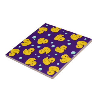Rubber Ducky Pattern Small Square Tile