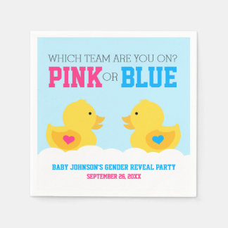 Rubber Ducky Pink or Blue Gender Reveal Party Paper Napkins