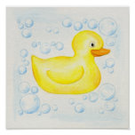 Rubber Ducky square bathroom art Poster