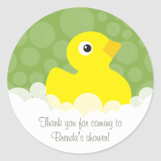 Rubber Ducky Thank You Stickers - Green