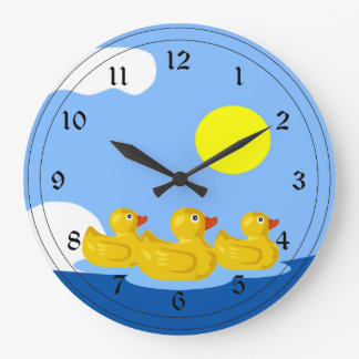 Rubber Ducky Triplets Large Clock