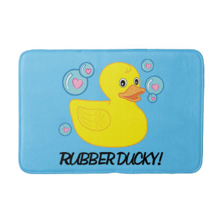 Rubber Ducky with Heart-Filled Bubbles Bath Mats