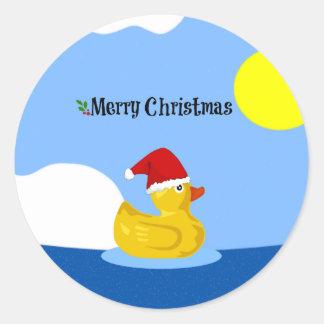 Rubber Ducky's Christmas Swim Round Sticker