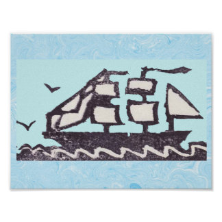 Rubber Stamp, Sailing Ship Poster