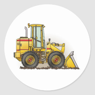 Rubber Tire Loader Construction Equipment Classic Round Sticker