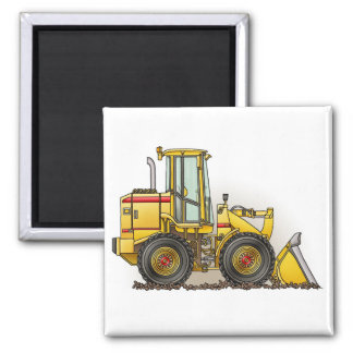 Rubber Tire Loader Construction Equipment Square Magnet