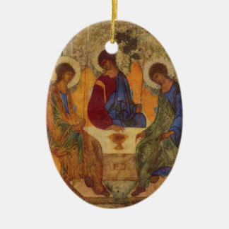 Rublev Trinity at the Table Ceramic Oval Decoration