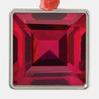 Ruby 2 Silver-Colored square decoration