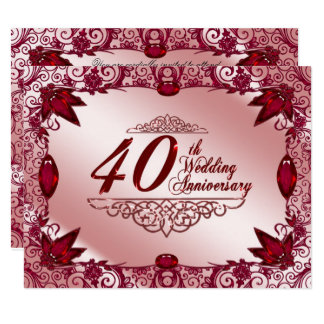 Ruby 40th Wedding Anniversary 4.25x5.5 Invitation