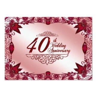 Ruby 40th Wedding Anniversary Invitation