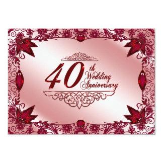 Ruby 40th Wedding Anniversary 4.5x6.25 Invitation