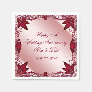 Ruby 40th Wedding Anniversary Paper Napkins Disposable Serviette