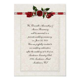 Ruby and Red Roses Ribbon Post Wedding 13 Cm X 18 Cm Invitation Card