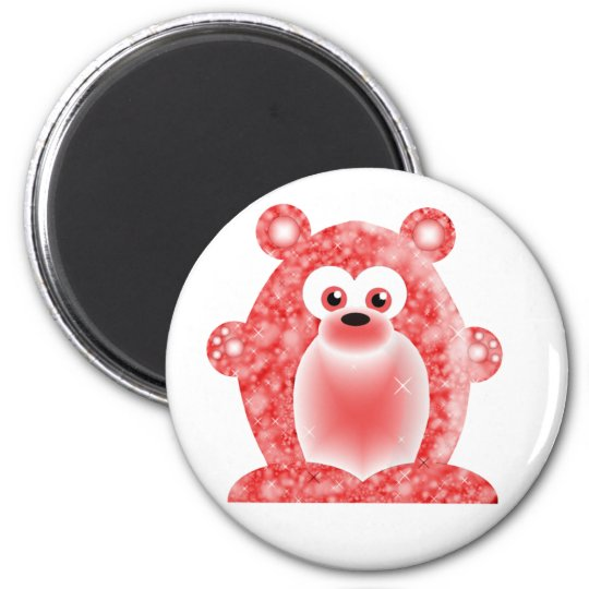 Ruby Birthstone Bear 6 Cm Round Magnet