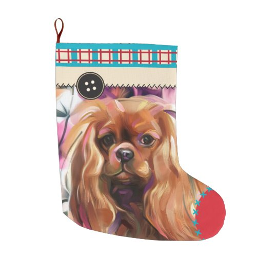 Ruby Cavalier Christmas Stocking | chequered