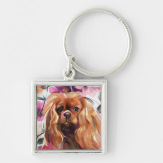 'Ruby' Cavalier dog art keychain
