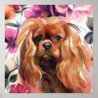 'Ruby' Cavalier dog art print on paper