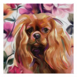'Ruby' Cavalier dog art print on paper | large