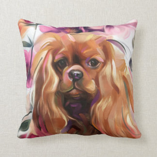 'Ruby' Cavalier dog art print pillow
