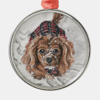 Ruby Cavalier King Charles Spaniel in the snow Silver-Colored Round Decoration
