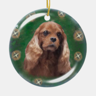 Ruby Cavalier King Charles Spaniel Ornament