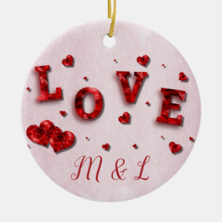 Ruby Crystal Love and Hearts Initial Ornament