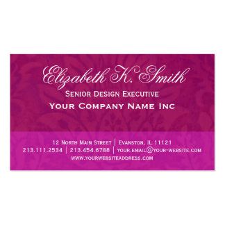 Ruby Damask Renaissance Hot Pink Accent Business Card
