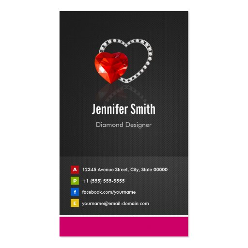 Ruby Diamond Designer - Jeweler Jewelry Jewellery Business Cards