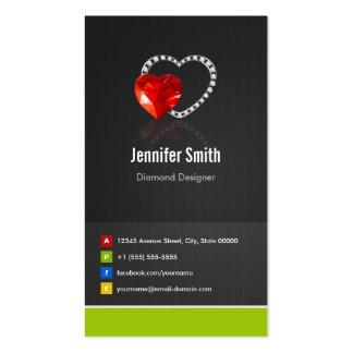 Ruby Diamond Designer - Jeweler Jewelry Jewellery Pack Of Standard Business Cards