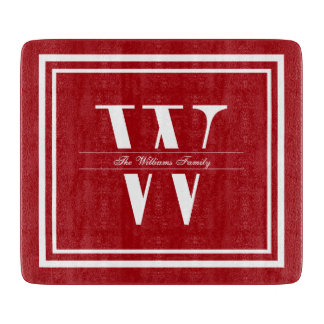 Ruby Double Border Monogram Cutting Board
